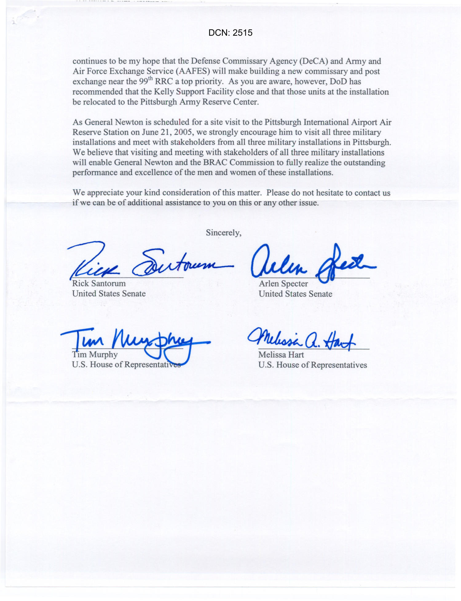 Letter from Pennsylvania Senators Rick Santorum and Arlen Specter and Reps Tim Murphy and Melissa Hart dtd 13JUN05                                                                                                      [Sequence #]: 2 of 2