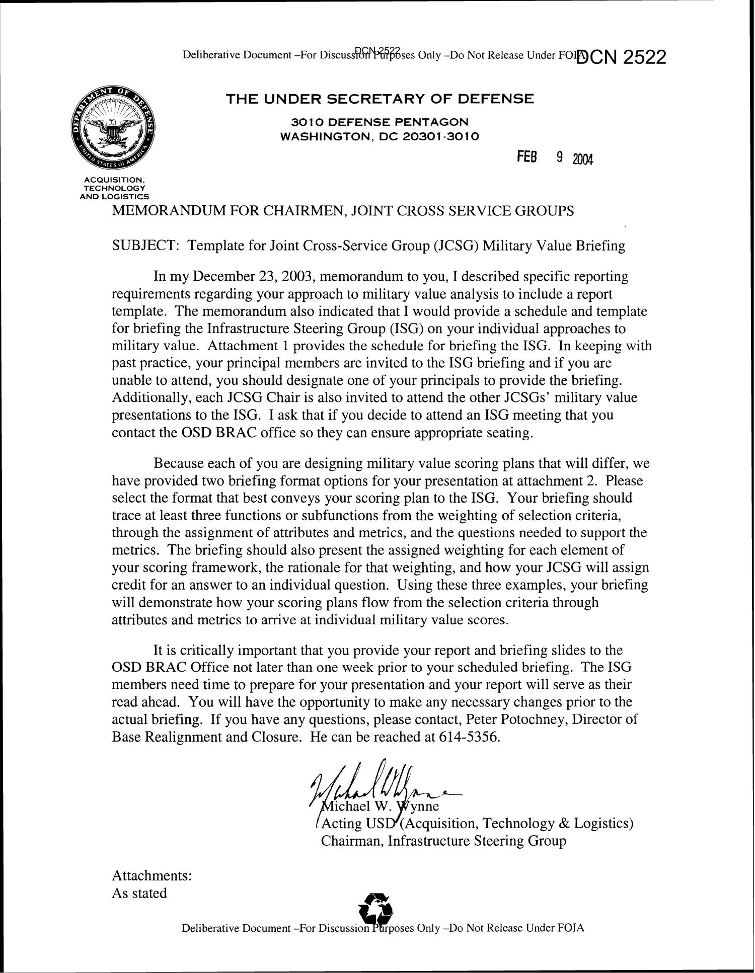 Memorandum for chairmen joint cross service groups for Army briefing template