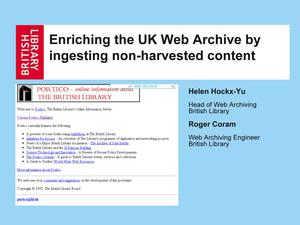 Primary view of Enriching the UK Web Archive by ingesting non-harvested content