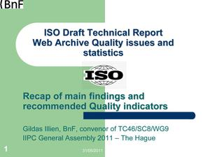 Primary view of ISO Draft Technical Report Web Archive Quality issues and statistics
