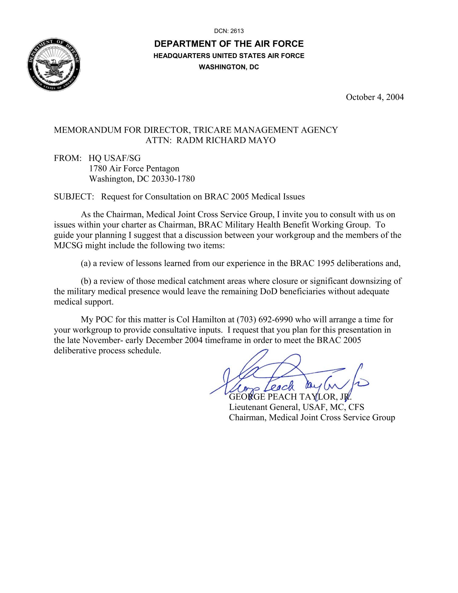 Memorandum for director tricare management agency from hq for Air force mfr template