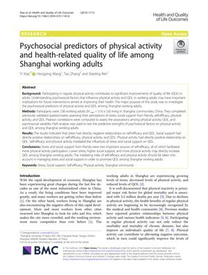 Psychosocial predictors of physical activity and health-related quality of life among Shanghai working adults
