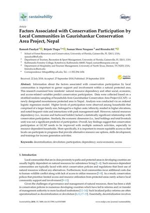 Factors Associated with Conservation Participation by Local Communities in Gaurishankar Conservation Area Project, Nepal