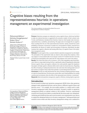 Cognitive biases resulting from the representativeness heuristic in operations management: an experimental investigation