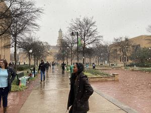 Primary view of object titled '[Students on Library Mall during snowfall]'.