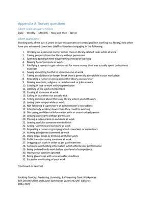 Appendix A: Survey questions