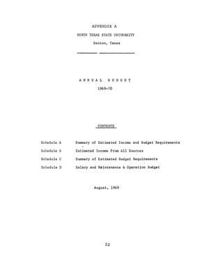 Primary view of object titled 'North Texas State University Budget: 1969-1970'.