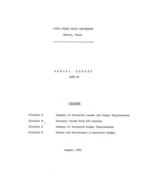 Primary view of object titled 'North Texas State University Budget: 1971-1972'.