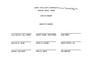 Primary view of object titled '[North Texas State University Budget: 1972-1973]'.