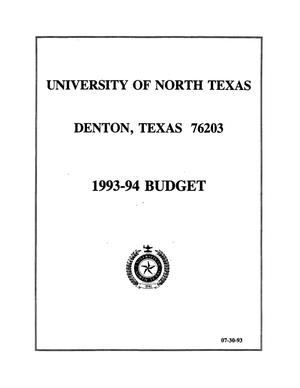 Primary view of object titled '[University of North Texas Budget: 1993-1994]'.
