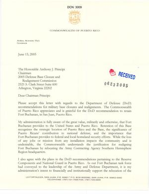 Primary view of object titled 'Letter from Governor Anibal Acevedo Vila to Chairman Anthony J. Principi dtd 13 June 2005'.
