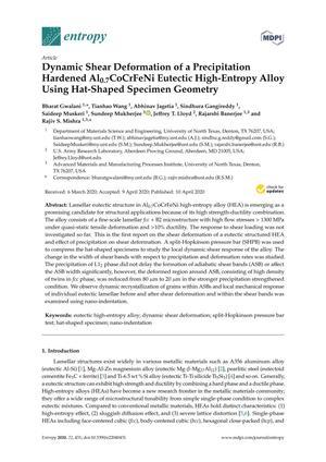 Dynamic Shear Deformation of a Precipitation Hardened Al0.7CoCrFeNi Eutectic High-Entropy Alloy Using Hat-Shaped Specimen Geometry