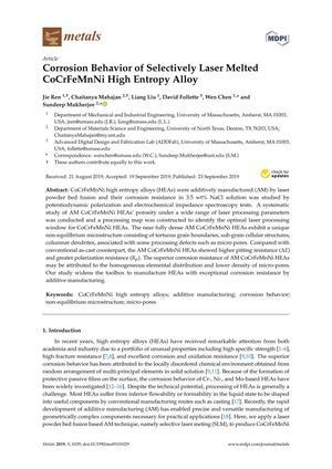 Corrosion Behavior of Selectively Laser Melted CoCrFeMnNi High Entropy Alloy