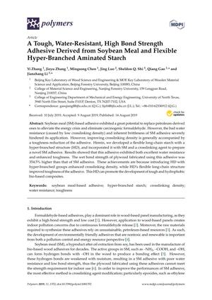 A Tough, Water-Resistant, High Bond Strength Adhesive Derived from Soybean Meal and Flexible Hyper-Branched Aminated Starch