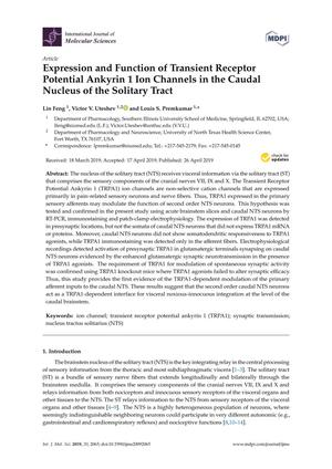 Expression and Function of Transient Receptor Potential Ankyrin 1 Ion Channels in the Caudal Nucleus of the Solitary Tract