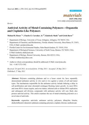 Antiviral Activity of Metal-Containing Polymers—Organotin and Cisplatin-Like Polymers