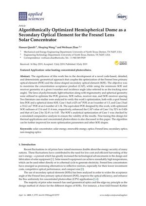 Algorithmically Optimized Hemispherical Dome as a Secondary Optical Element for the Fresnel Lens Solar Concentrator