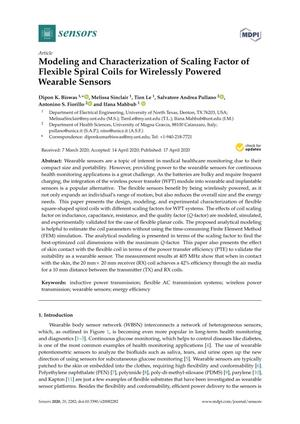 Modeling and Characterization of Scaling Factor of Flexible Spiral Coils for Wirelessly Powered Wearable Sensors