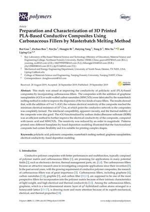 Preparation and Characterization of 3D Printed PLA-Based Conductive Composites Using Carbonaceous Fillers by Masterbatch Melting Method