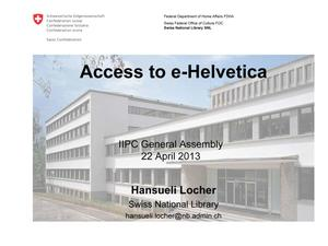 Primary view of Access to e-Helvetica
