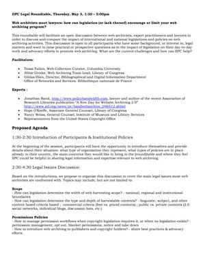 IIPC 2012 General Assembly Legal Roundtable Agenda