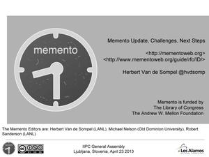 Primary view of Memento Aggregator Update