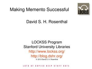Primary view of Making Memento Successful