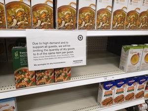 [COVID-19 signage at Target in Denton]