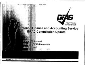 Primary view of object titled 'Base Input from BRAC Commission Visit to DFAS Pensacola, FL dtd 15 June 2005'.