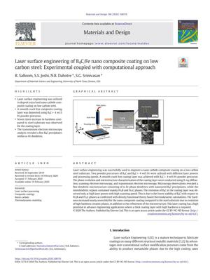 Laser surface engineering of B4C/Fe nano composite coating on low carbon steel: Experimental coupled with computational approach