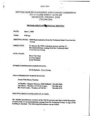 Primary view of object titled '[Memorandum of Meeting: Technical Joint Cross-Service Group, June 1, 2005]'.