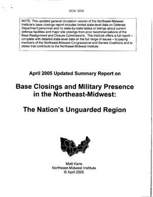 "Primary view of object titled 'Congressional Input: Report titled ""Base Closings and Military Presence in the Northeast-Midwest: The Nation's Unguarded Region"" submitted by Connecticut Rep. Rob Simmons'."