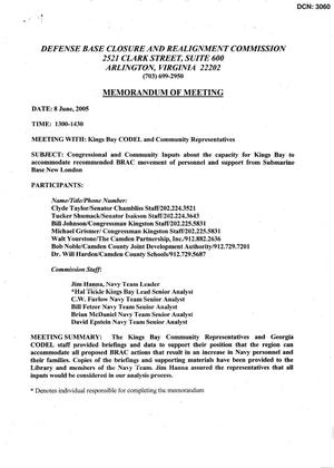 Primary view of object titled '[Memorandum of Meeting: Naval Submarine Base, Kings Bay, Georgia, June 8, 2005]'.