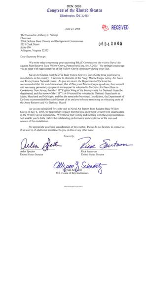 Primary view of object titled 'Letter To Chairman Principi From SEN Spector (PA), SEN Santorum (PA), and REP Schwartz (PA) dtd June 23, 2005'.