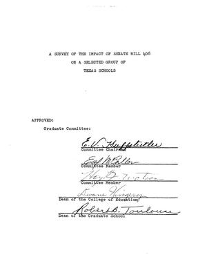 Primary view of object titled 'A Survey of the Impact of Senate Bill 408 on a Selected Group of Texas Schools'.