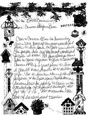Primary view of object titled 'Letter from Casey Ruffoy in support of Cannon AFB'.