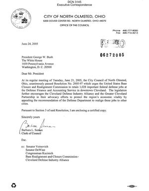 Primary view of object titled 'Letter from Barbara L. Seman, Clerk of Council for City of North Olmsted, Ohio in reference to Resolution No 2005-97'.