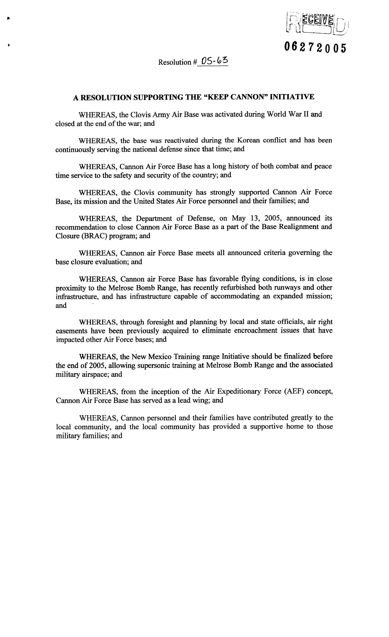 "Copies of Resolution 05-63 - A Resolution Supporting the ""Keep Cannon"" Initiative                                                                                                      [Sequence #]: 7 of 18"