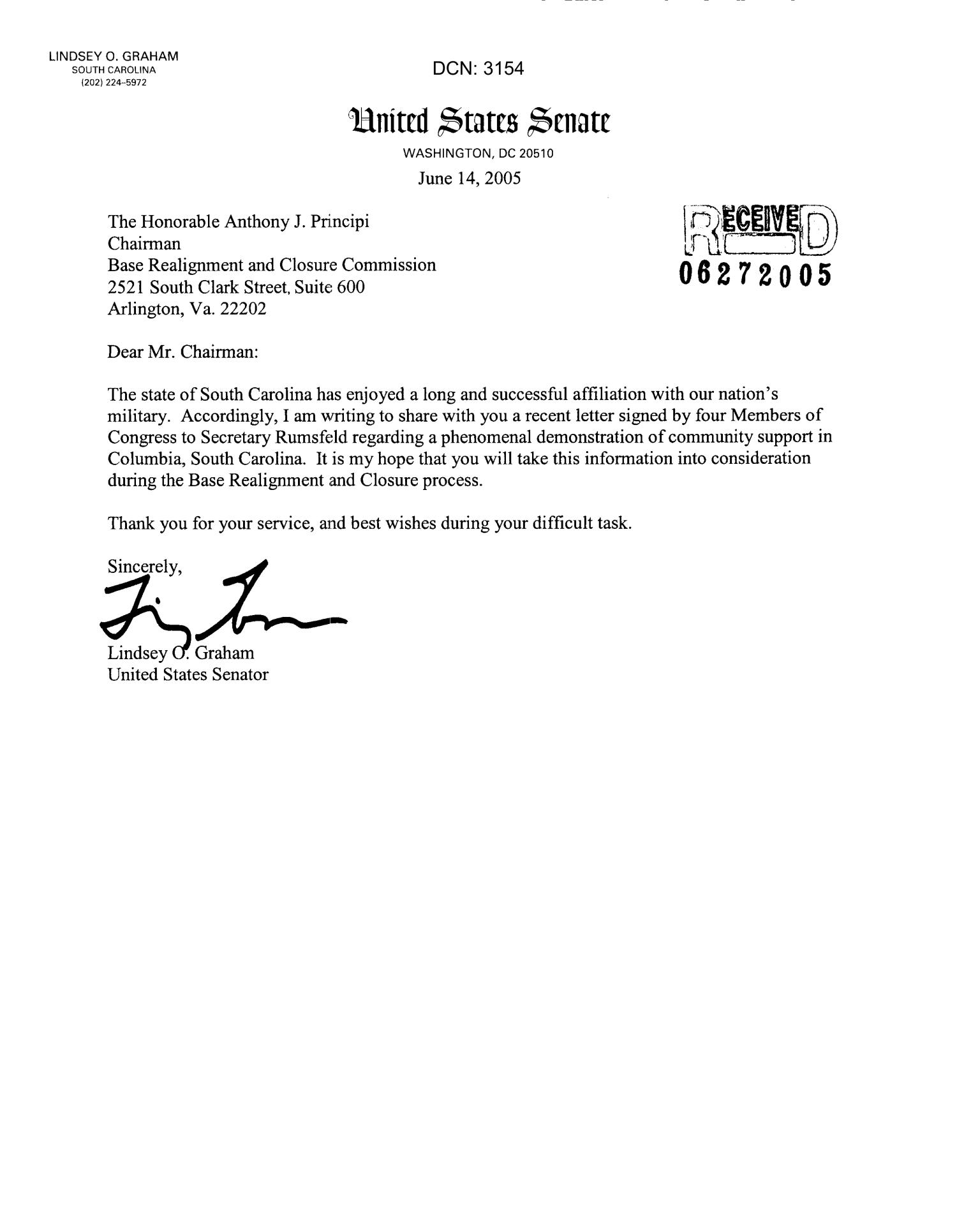 letter to the chairman from lindsey o graham united states senator digital library