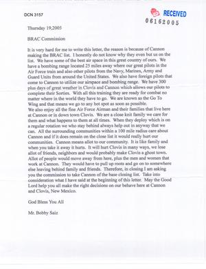 Primary view of object titled 'Letter from Saiz and Montoya to Chairman Principi and the Commissioners (19Jun05)'.