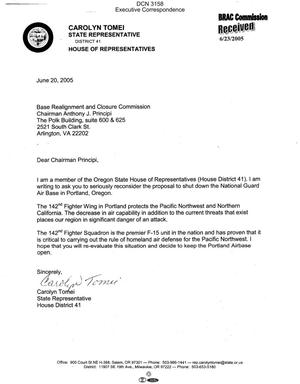 Primary view of object titled 'Executive Correspondence – Letter dtd 06/20/05 to Chairman Principi from OR State Representative Carolyn Tomei'.