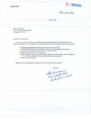 Primary view of object titled 'Letter from Williams to Chairman Principi and the Commissioners (7Jun05)'.