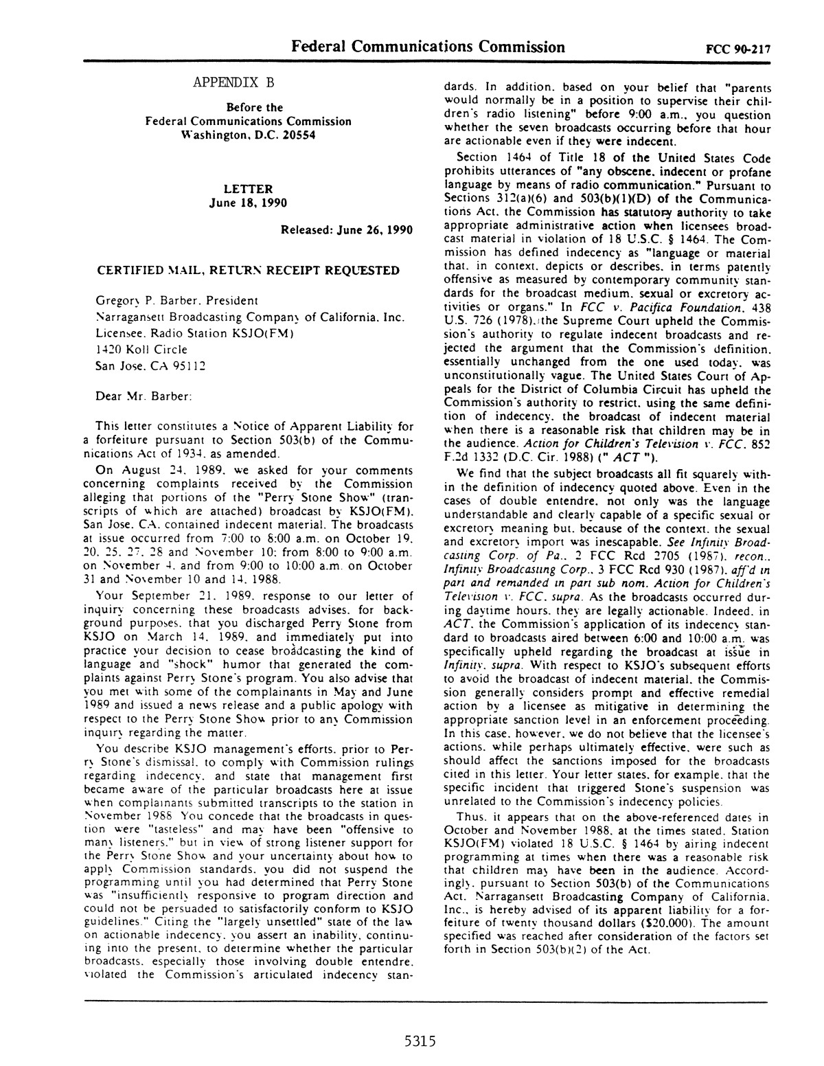 FCC Record, Volume 5, No. 17, Pages 5138 to 5328, August 13 - August 24, 1990                                                                                                      5315