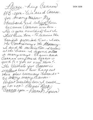 Primary view of object titled 'Letter from Donna Larson to the Commission in support of Cannon AFB.'.