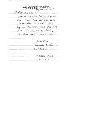 Primary view of object titled 'Letter from Muriel and Donna Lewis to the Commission in support of Cannon AFB.'.