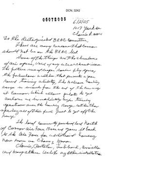 Primary view of object titled 'Letter from Suisie Mintor to the Commission in support of Cannon AFB.'.