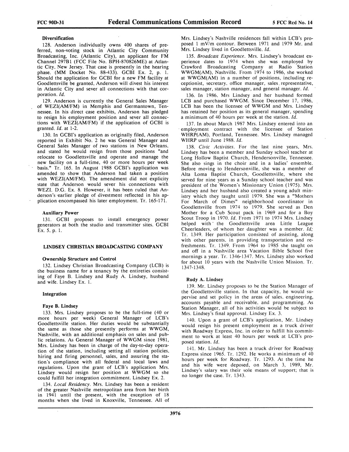 FCC Record, Volume 5, No. 14, Pages 3902 to 4380, July 2 - July 13, 1990                                                                                                      3976