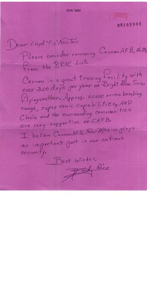 Primary view of object titled 'Letter from Kathy Rice to the Commission in support of Cannon AFB.'.