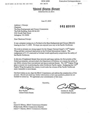 Primary view of object titled 'Executive Correspondence – Letter dtd 06/27/05 to Chairman Principi from OR Senators Wyden and Smith'.