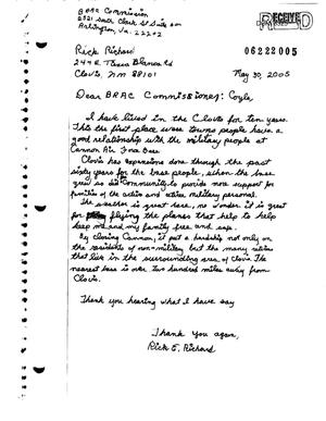 Primary view of object titled 'Letter from Rick Richard to the Commission in support of Cannon AFB.'.